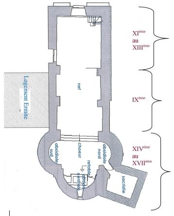 Plan de l'intérieur de la chapelle de Tanya